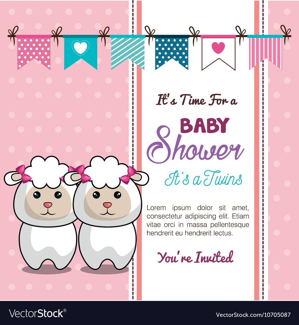 Card baby shower twins sheep design