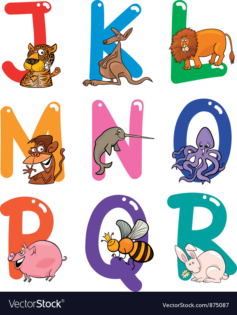 Cartoon colorful alphabet with animals vector