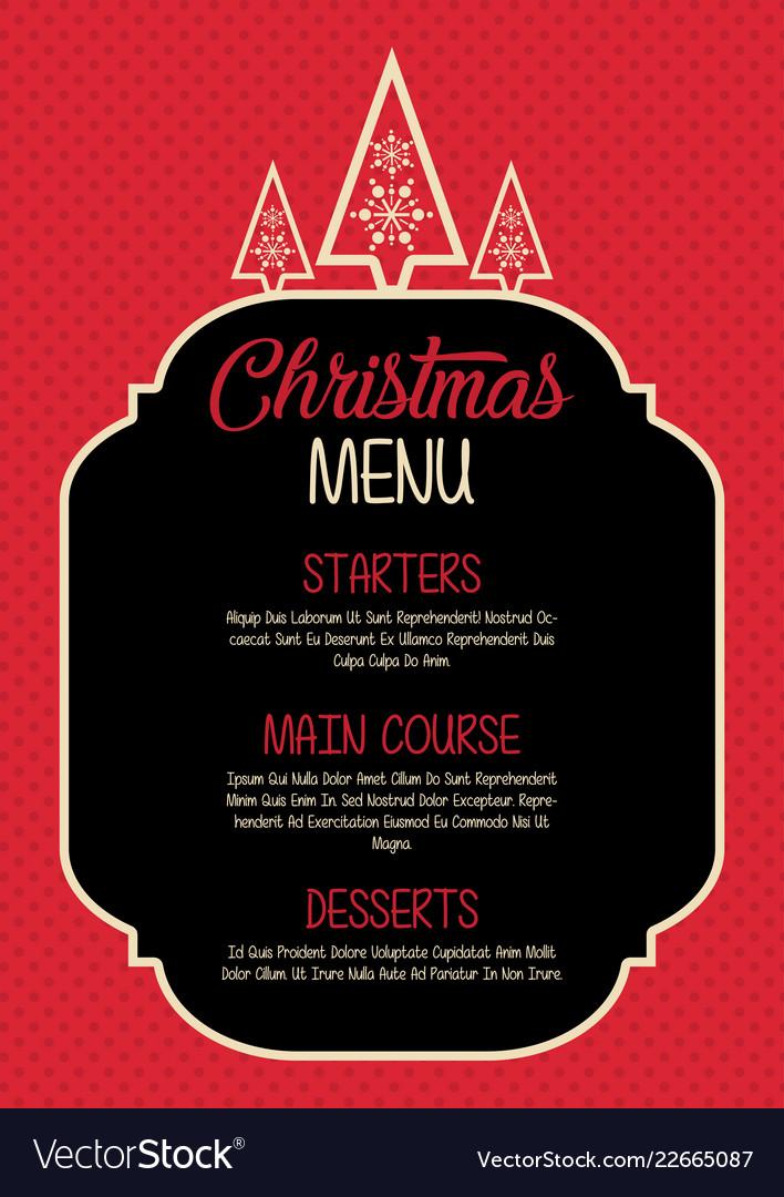christmas menu design royalty free vector image
