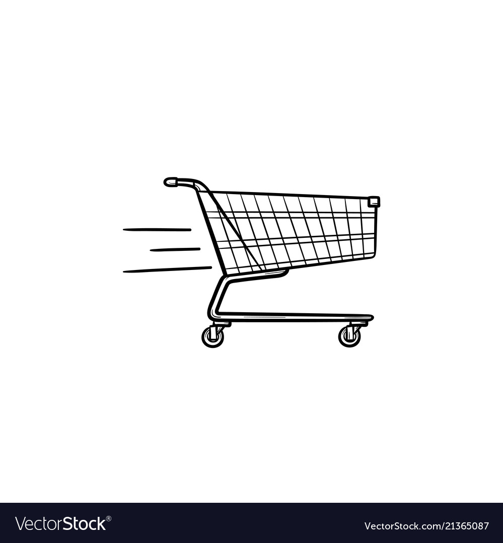 Fast delivery shopping cart hand drawn outline