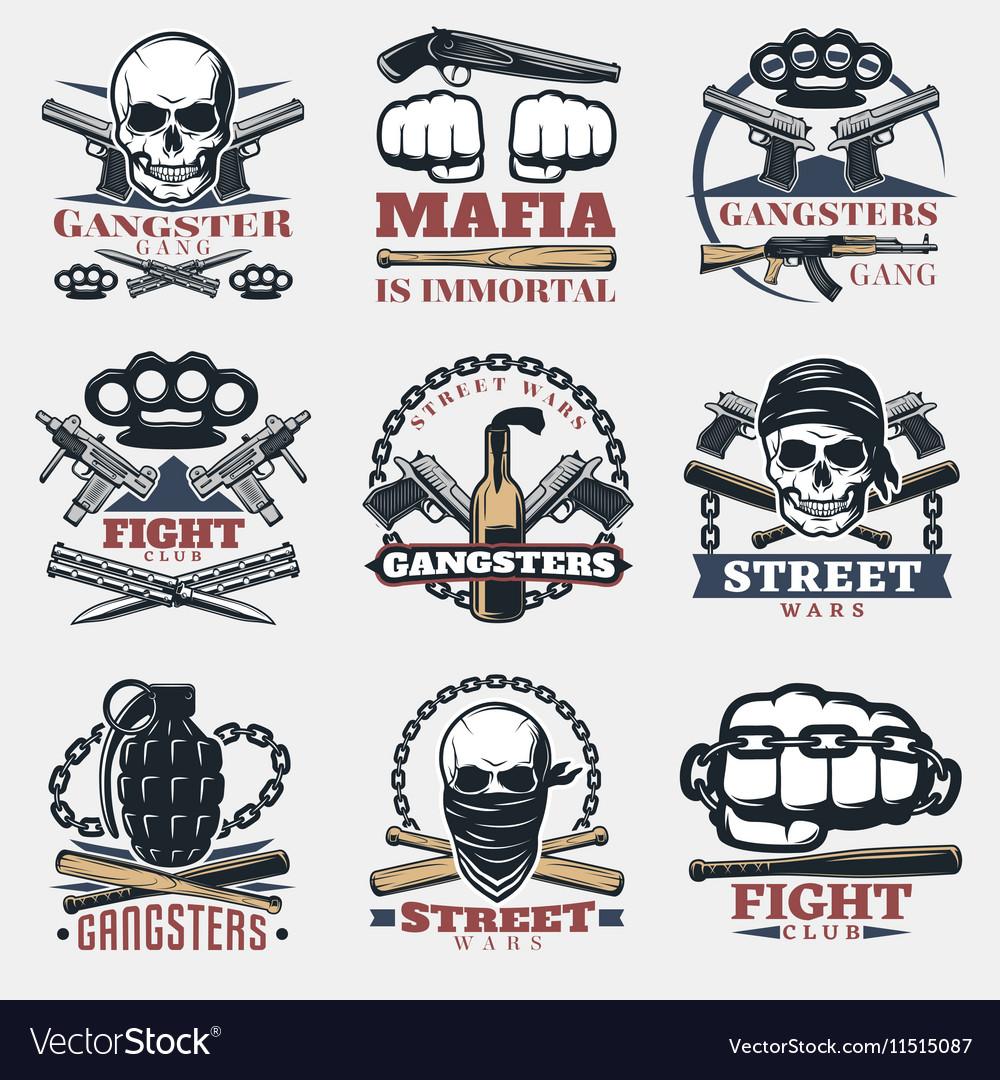 Mafia fight emblems in color
