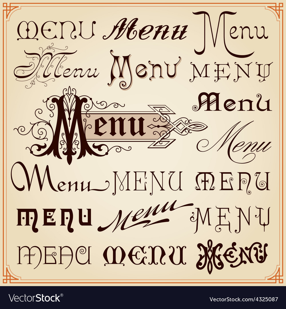 Menu Vintage Lettering Texts vector image