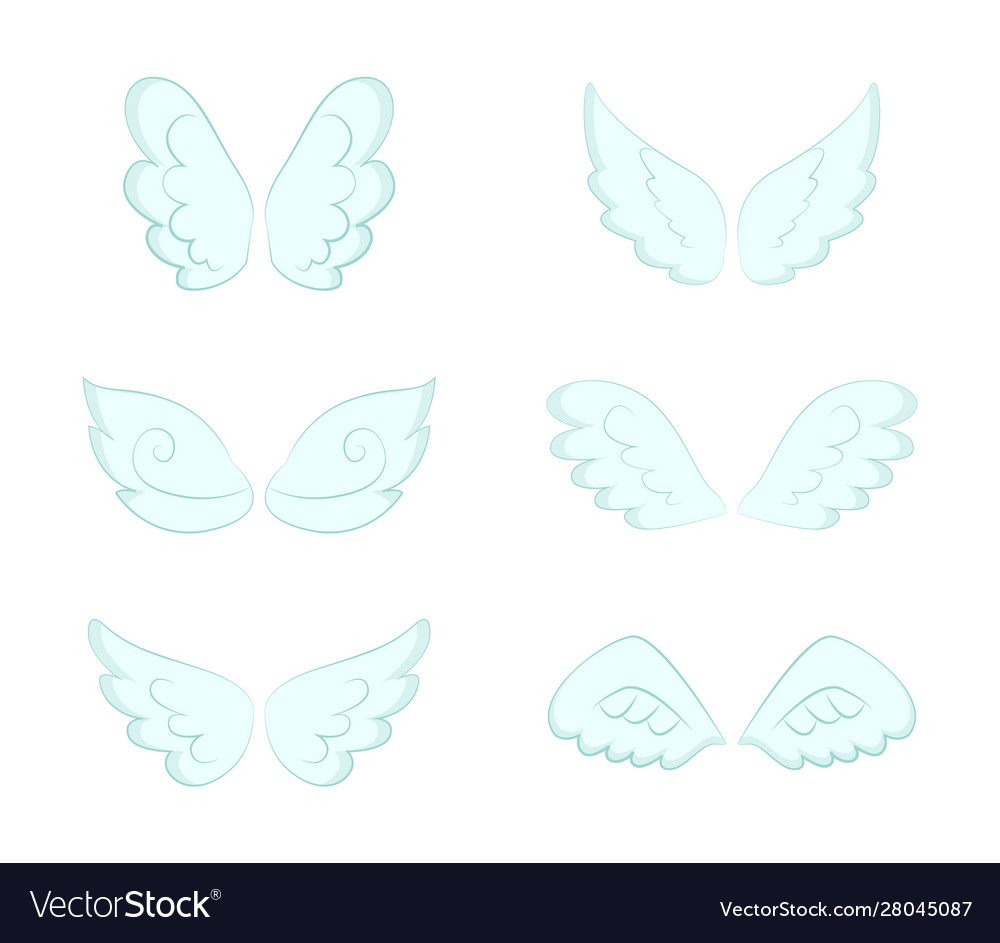 Pairs wings angelic feathers and plumage set