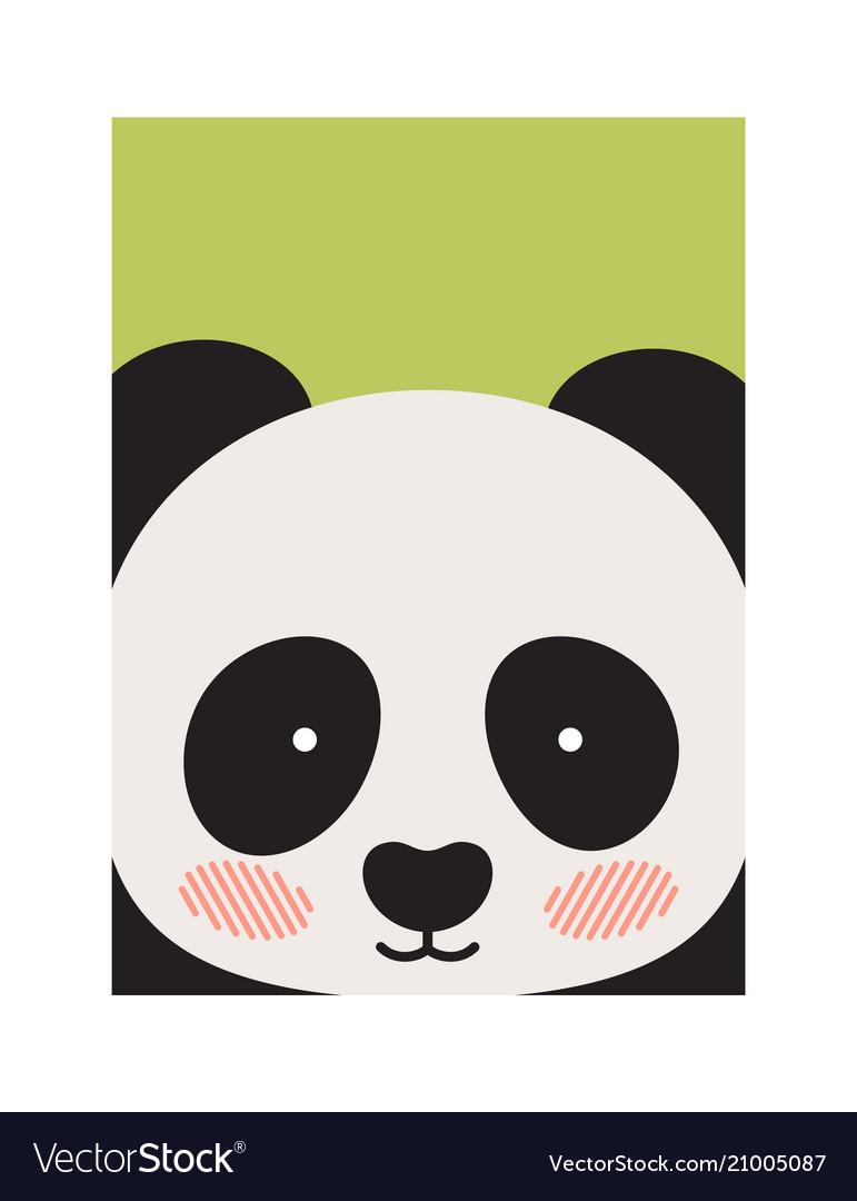 Round panda s face isolated on green backdrop
