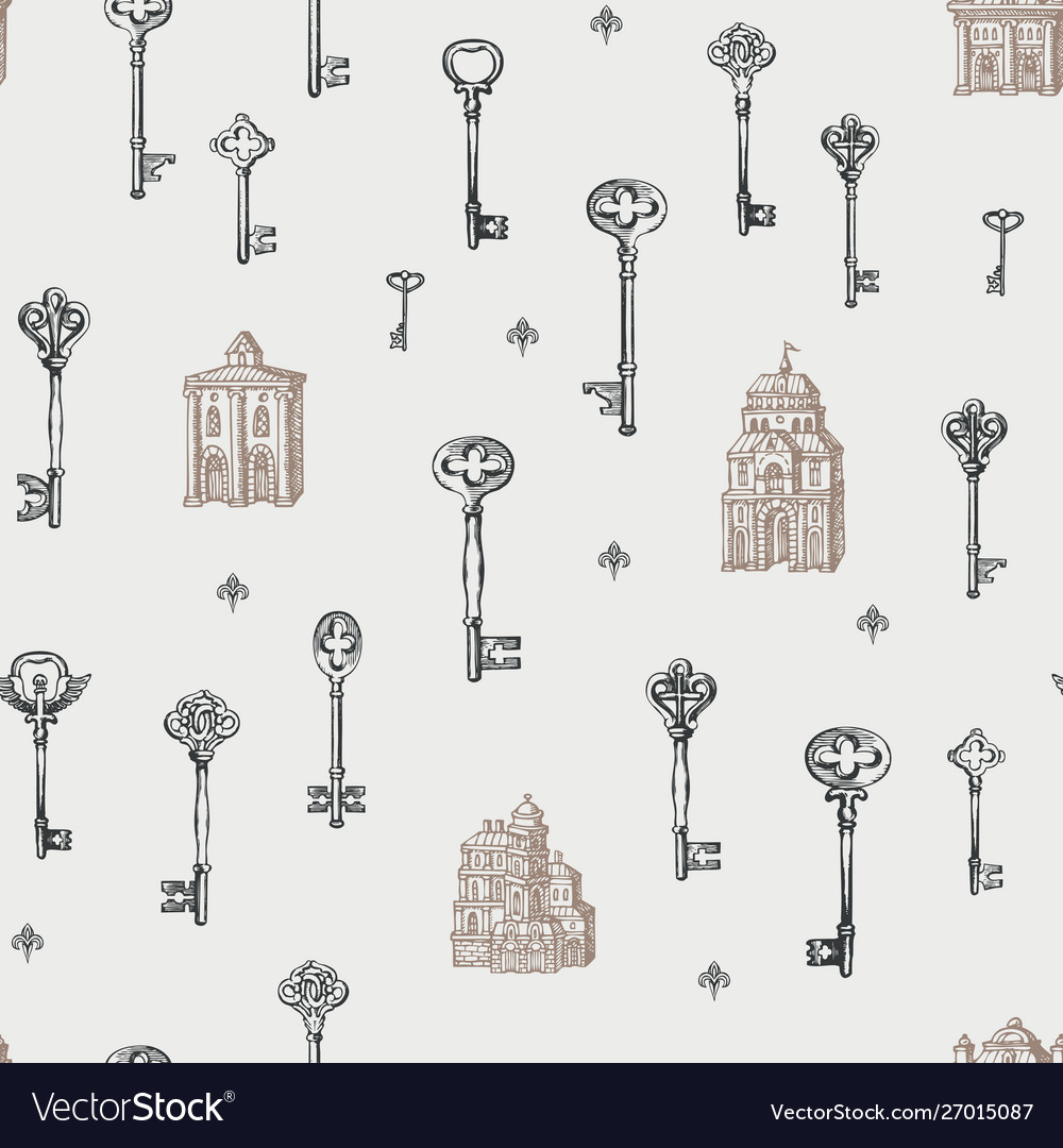 Seamless pattern with vintage keys and old