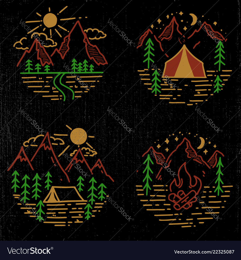Set of hand drawn hiking and tourism emblems