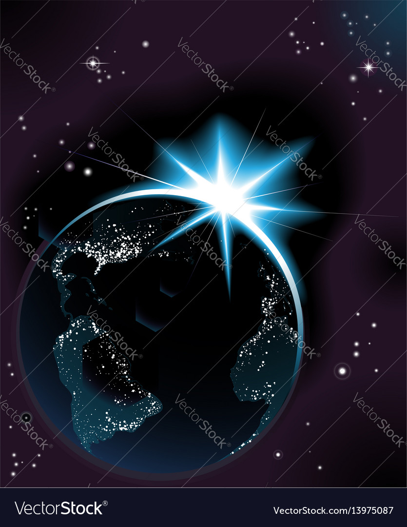 Sun rising over night time planet earth vector image