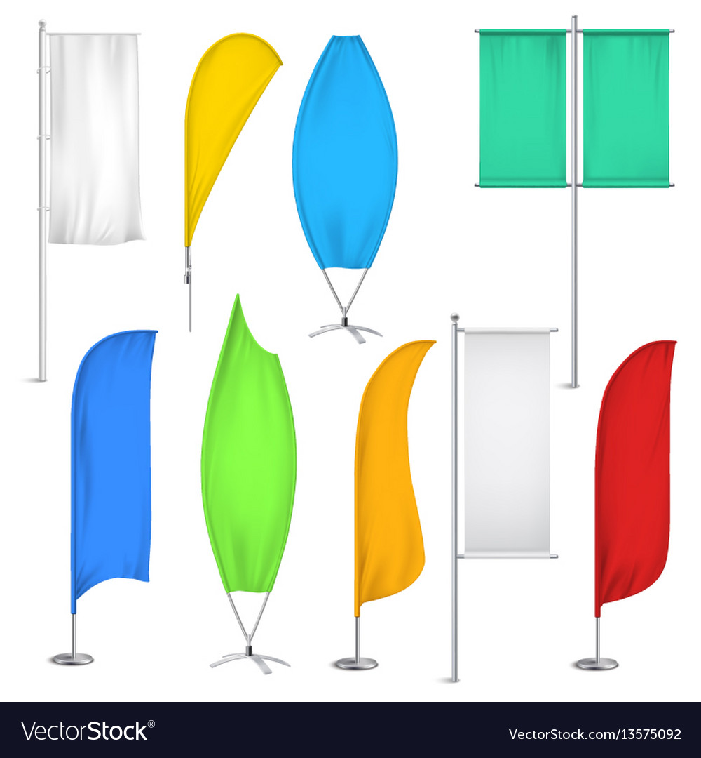 Advertisement flags and banners icon set