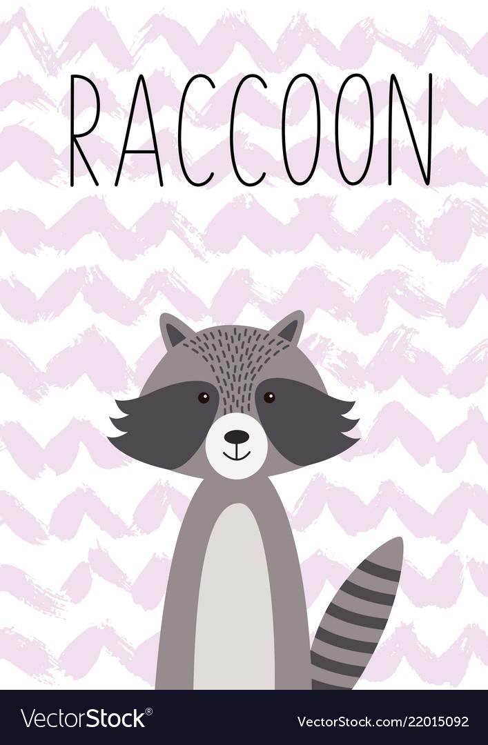 Cartoon animal cute raccoon poster card