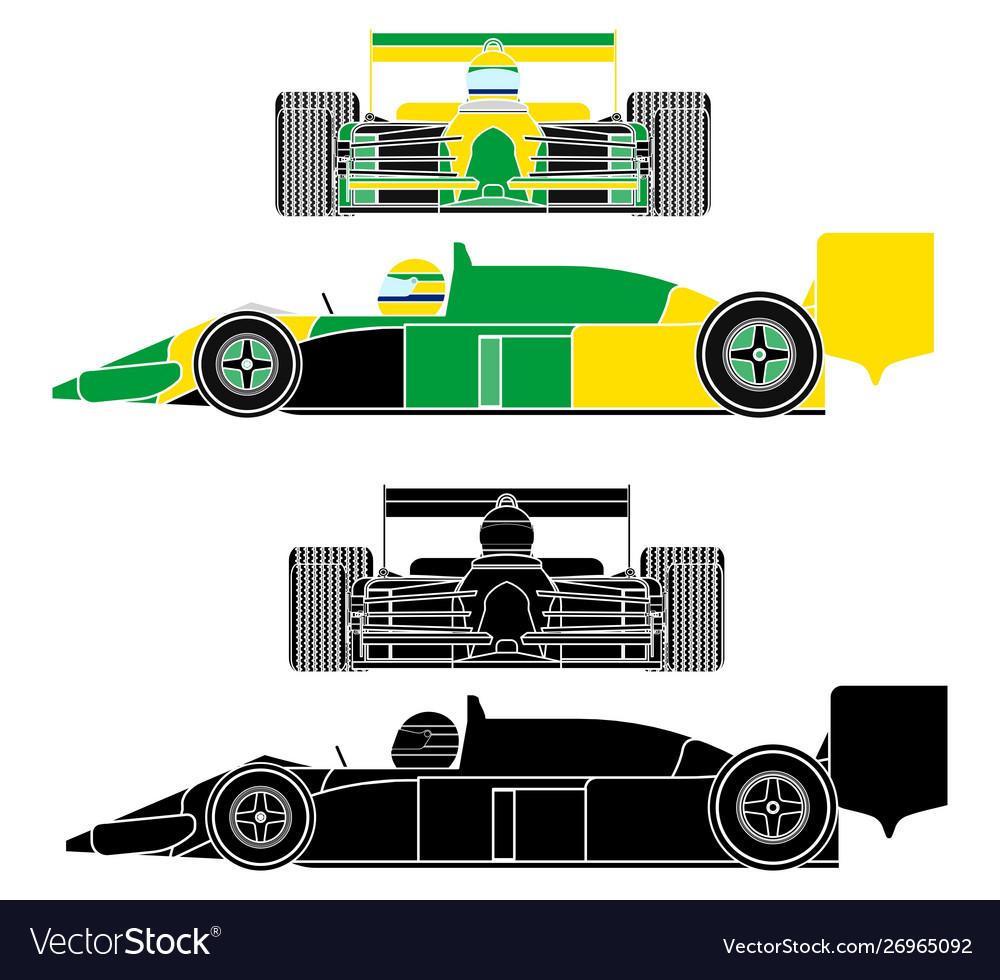 - Famous Race Car Brazilian Colors Flag Without Vector Image