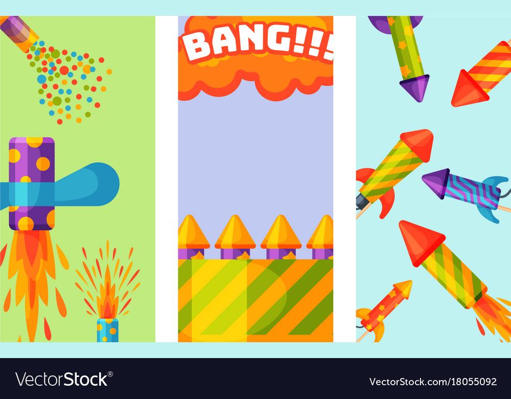 Fireworks pyrotechnics rocket brochure flapper vector image
