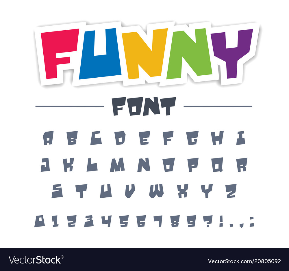Funny cute child font type comic cartoon fun