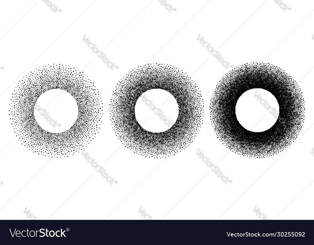 Grunge spray stencil round frames gradient ink