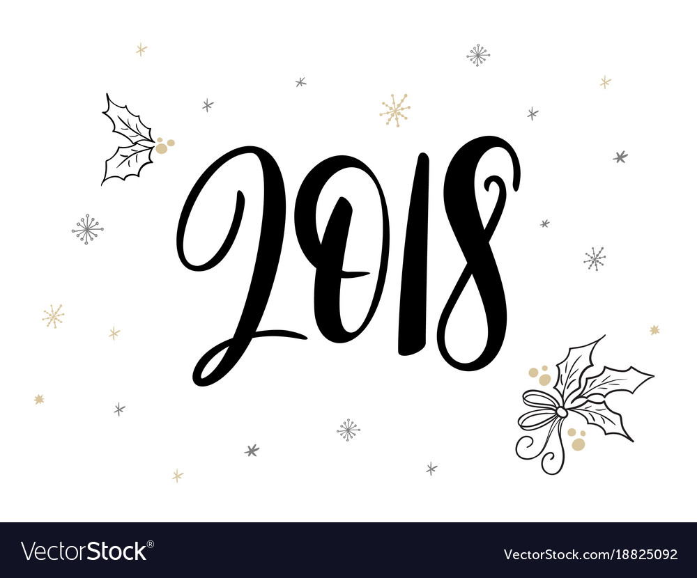 Hand lettering new 2018 year label with