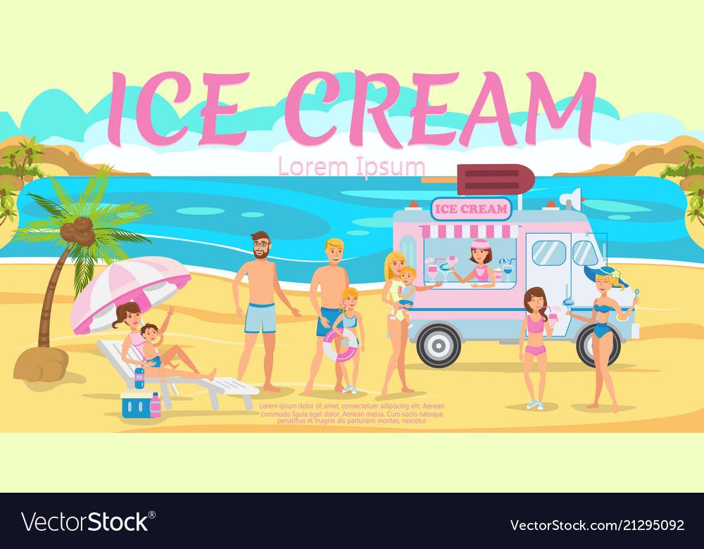 Ice cream truck on beach