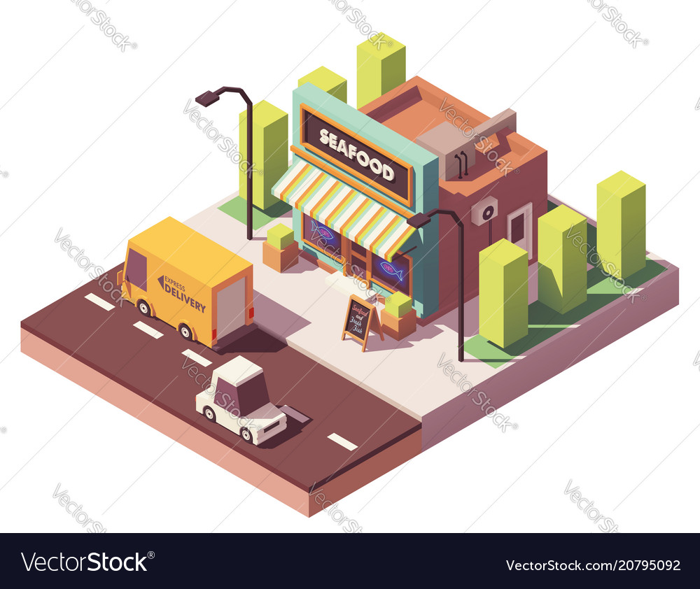 Isometric fish and seafood shop