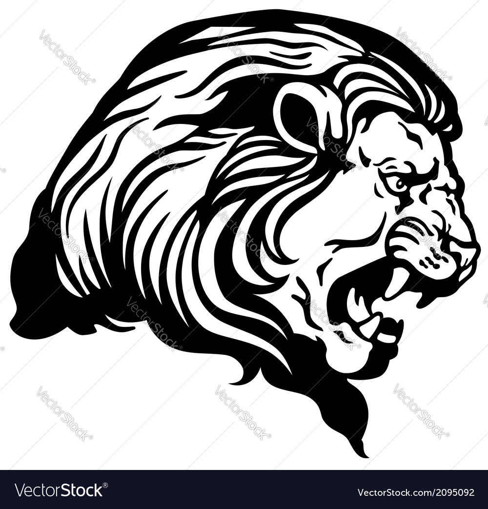 Lion Head Black White Royalty Free Vector Image