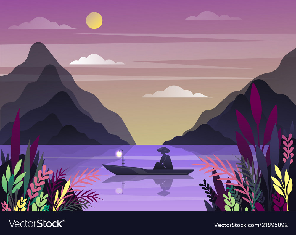 Nature landscape with mountains and fisherman