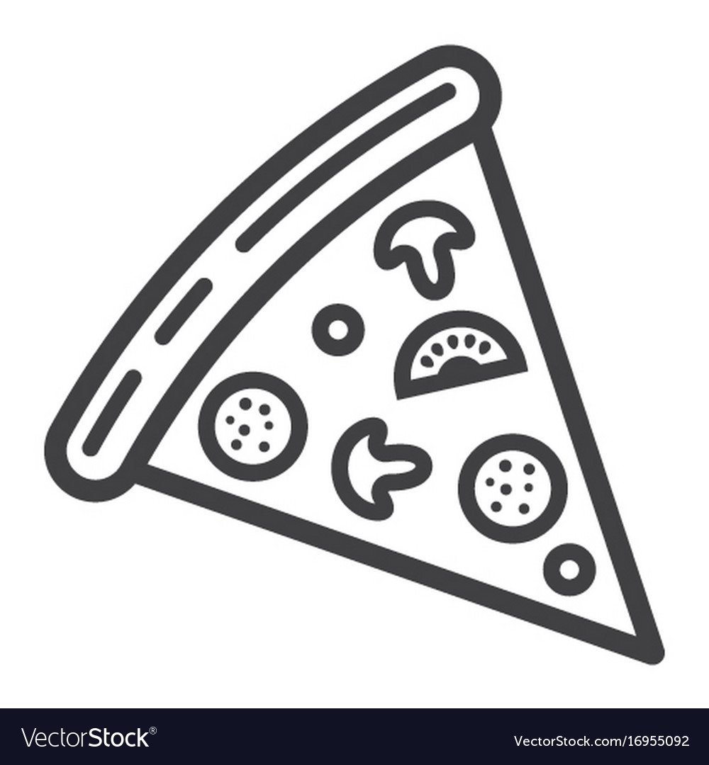 Pizza slice line icon food and drink fast food