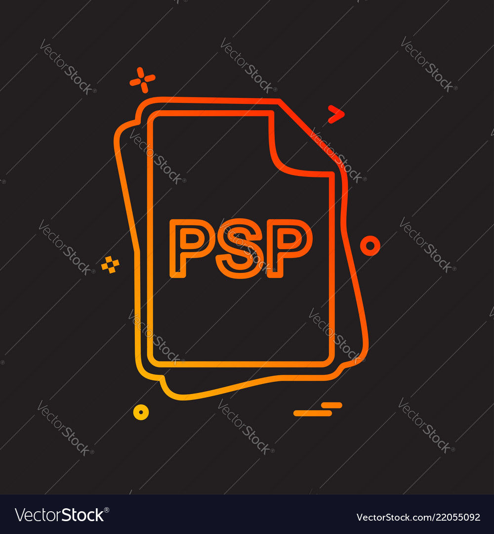 Psp file type icon design royalty free vector image.