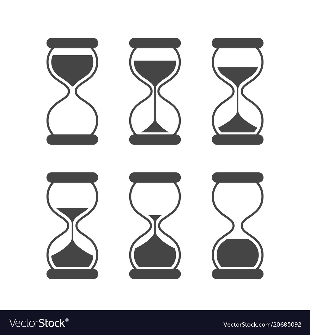 Sands of time hourglass isolated symbols