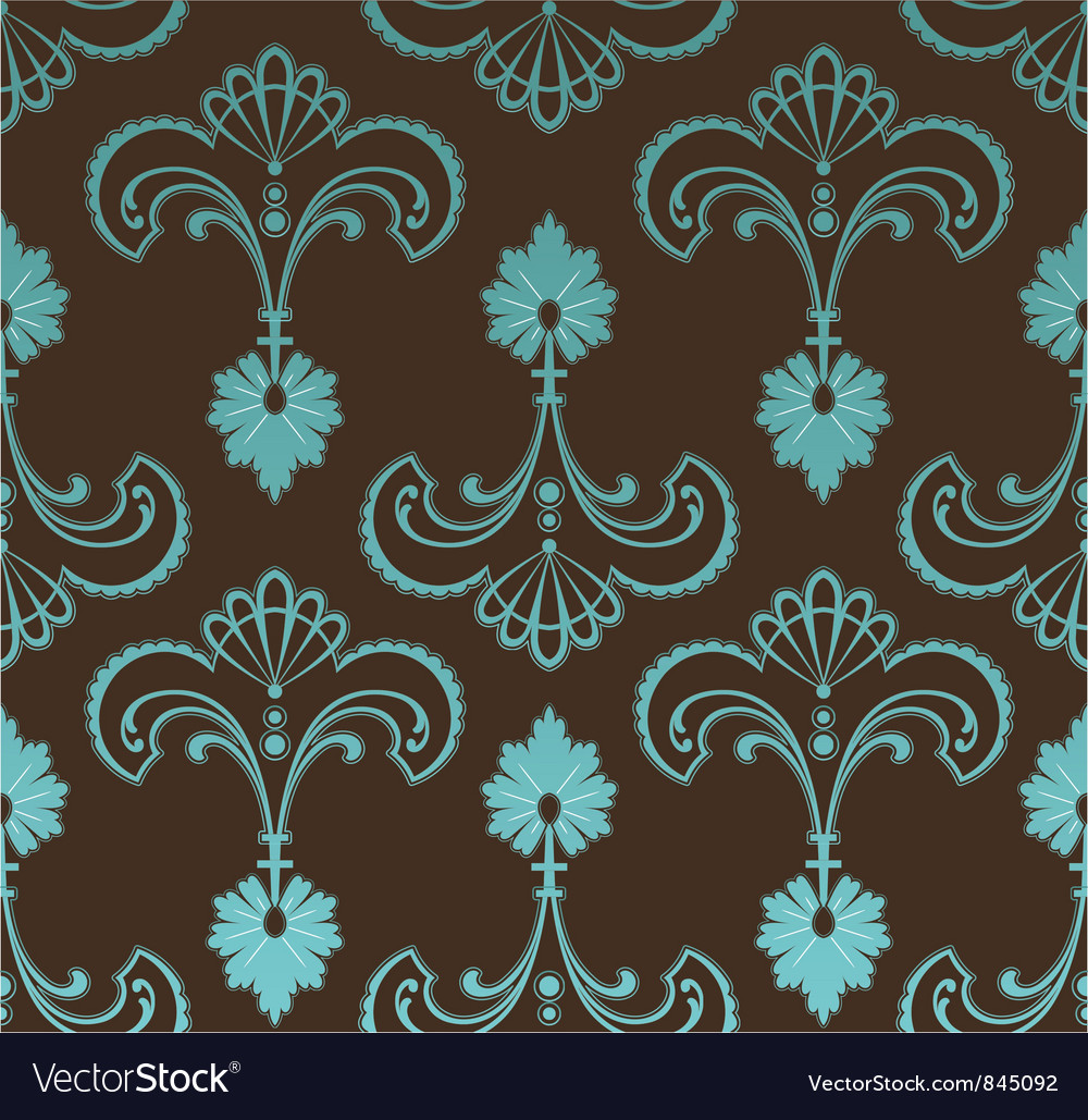 Seamless retro floral pattern vector image