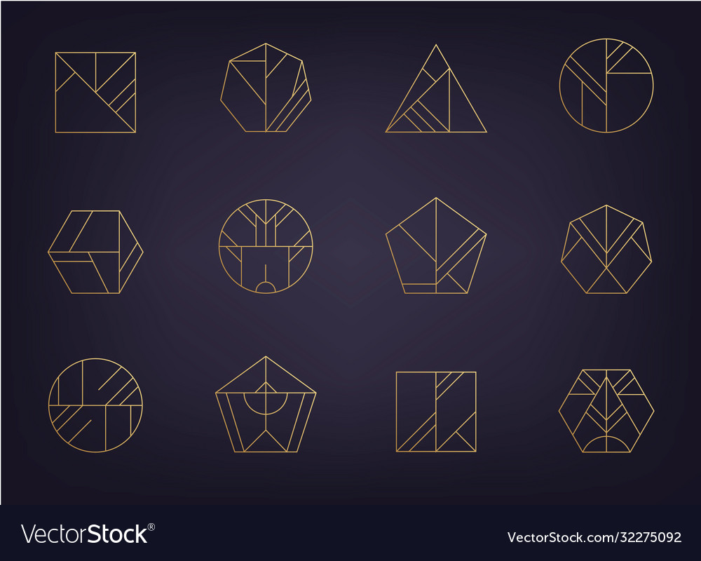 Set abstract geometric logos art deco