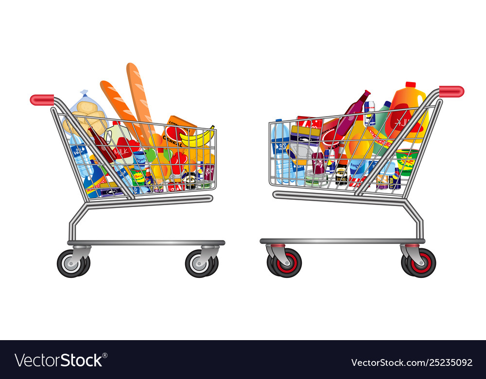 Set isolated shopping trolley full food