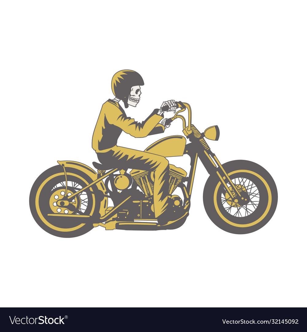 Skull ride classic motorcycle clip art