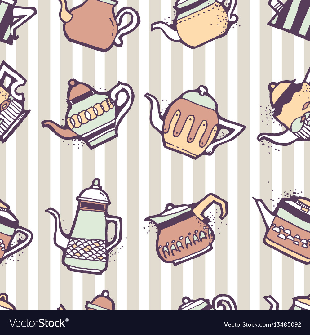 Vintage tea pots seamless pattern