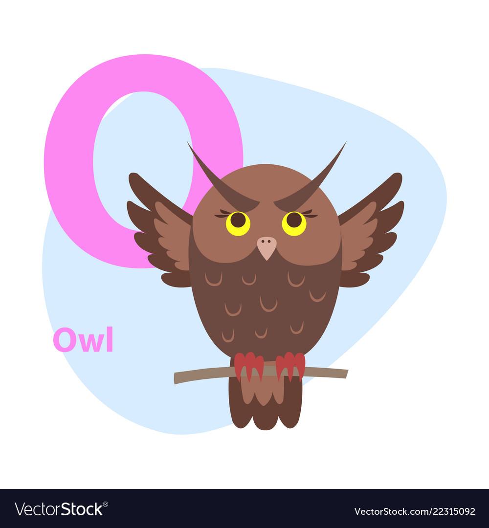 Zoo abc letter with cute owl cartoon