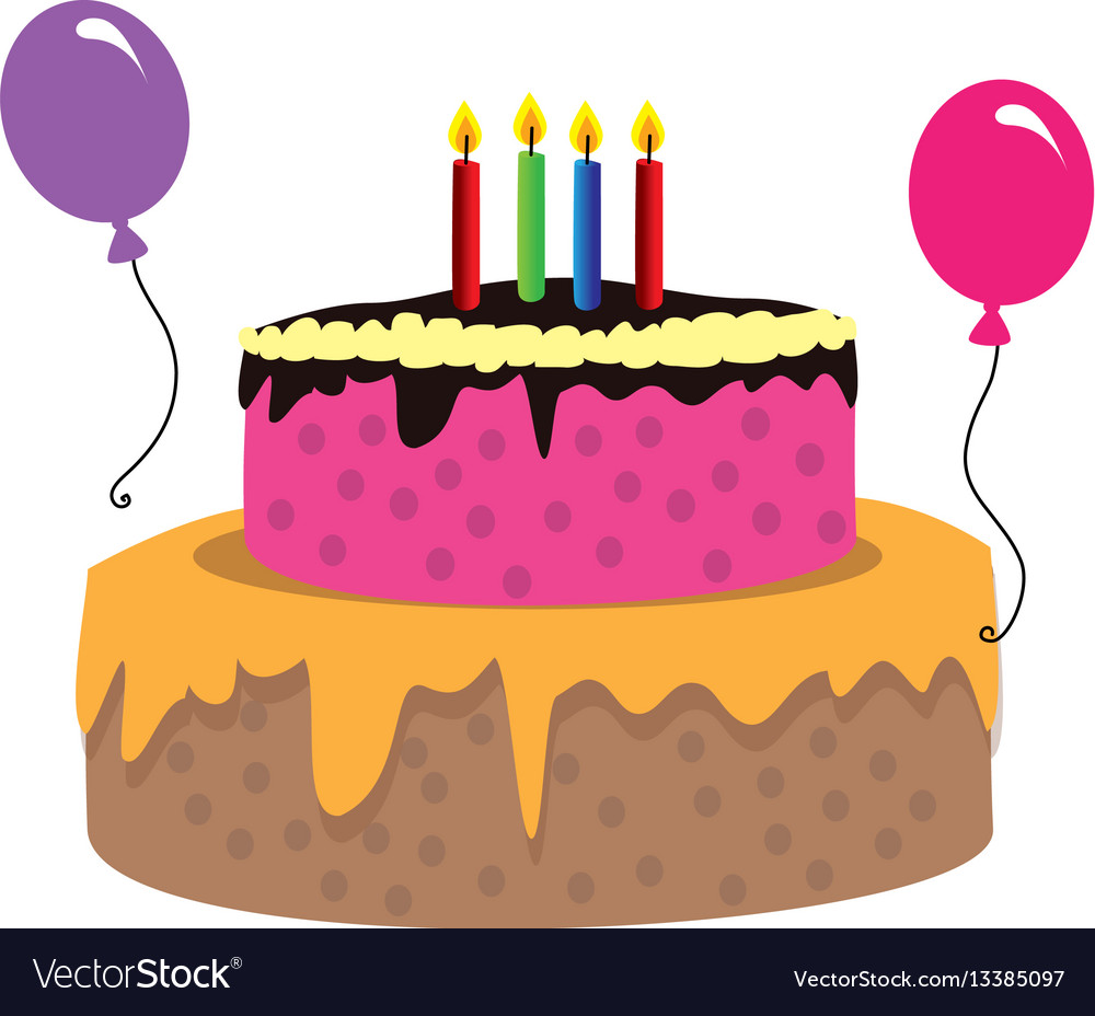 Color Silhouette With Birthday Cake And Candles Vector Image