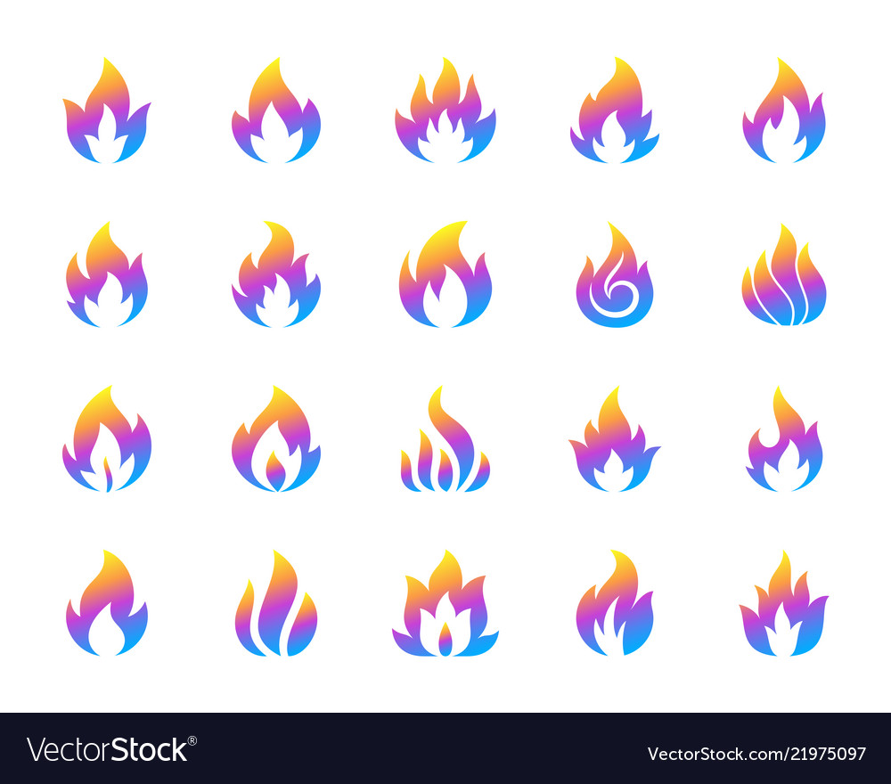 Gas fire simple gradient icons set