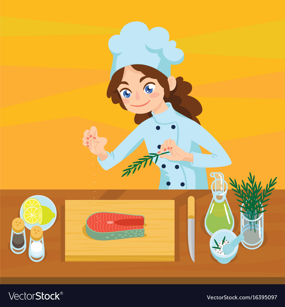 Happy young cook preparing salmon steaks on vector image