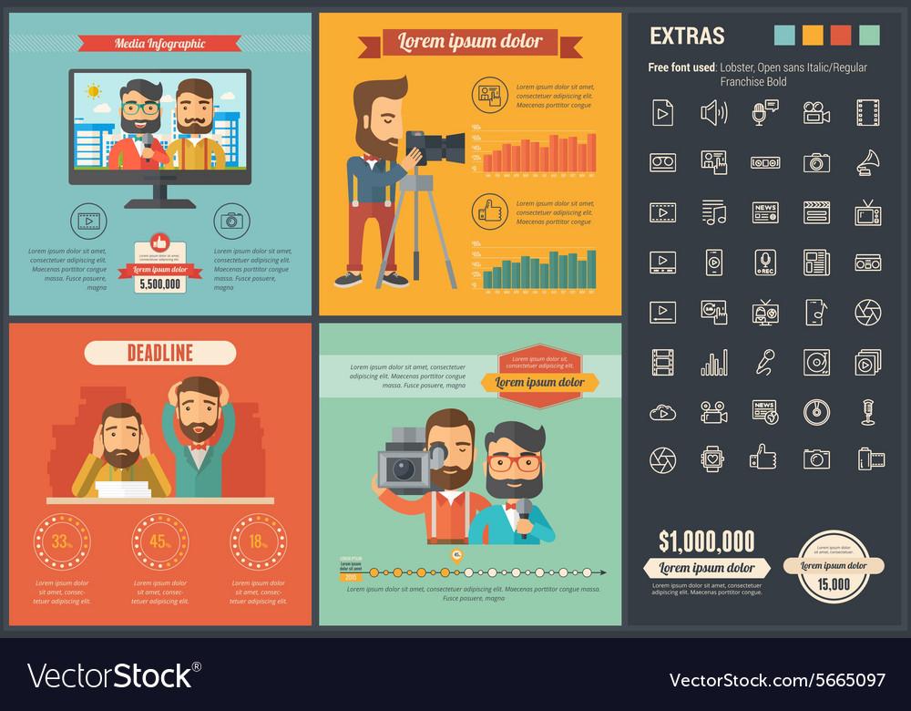 Media flat design Infographic Template