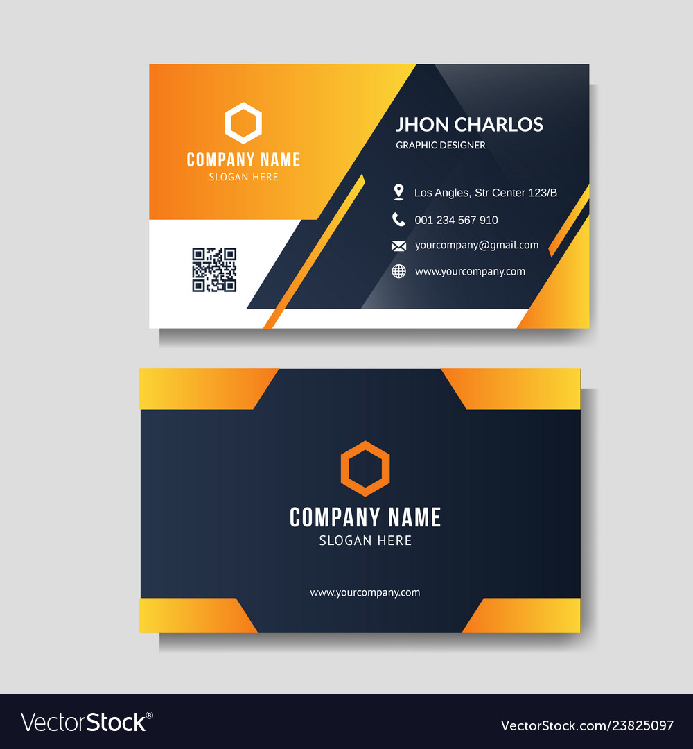 Modern yellow business card Royalty Free Vector Image