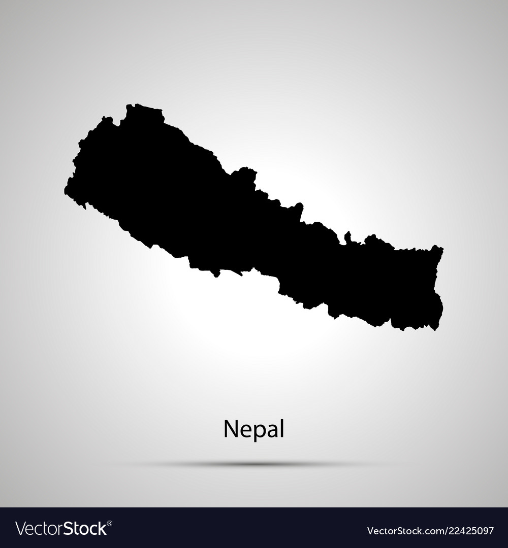 Nepal country map simple black silhouette on gray