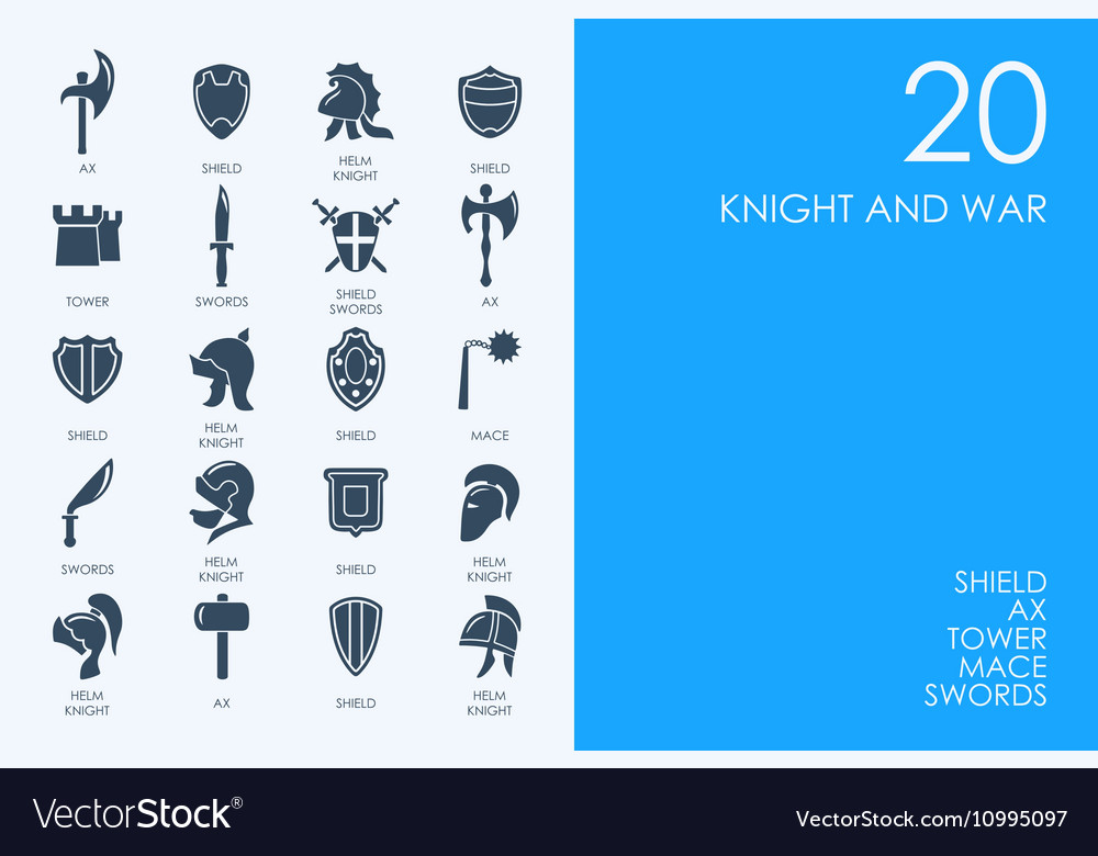 Set of BLUE HAMSTER Library knight and war icons