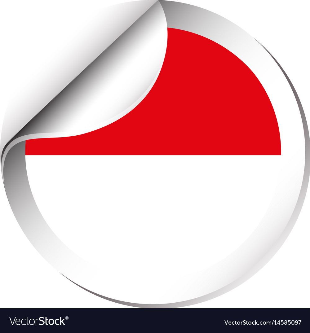 Sticker design for indonesia flag vector image
