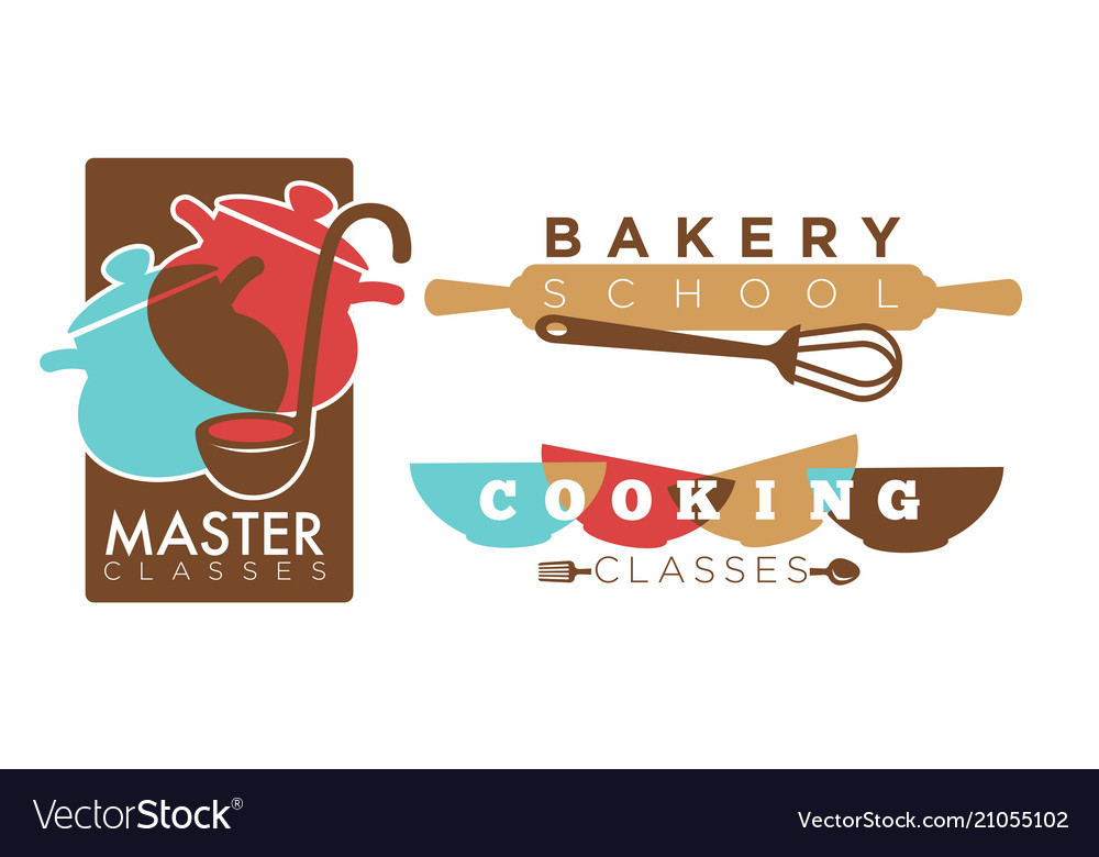 Cooking or bakery chef school icons
