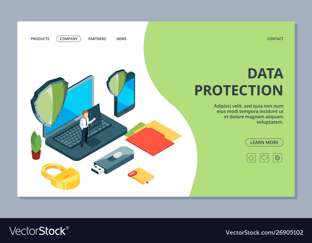 Data protection landing page isometric mobile