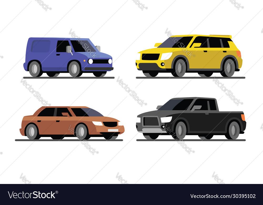 Four different cars van pickup sedan suv