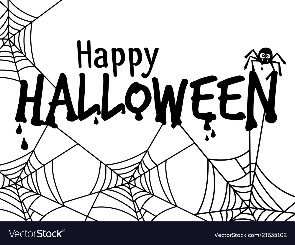 Halloween text banner with spider