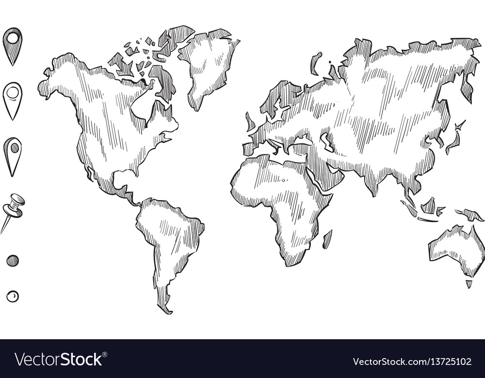 Hand Drawn Map Of The World.Hand Drawn Rough Sketch World Map With Doodle Vector Image