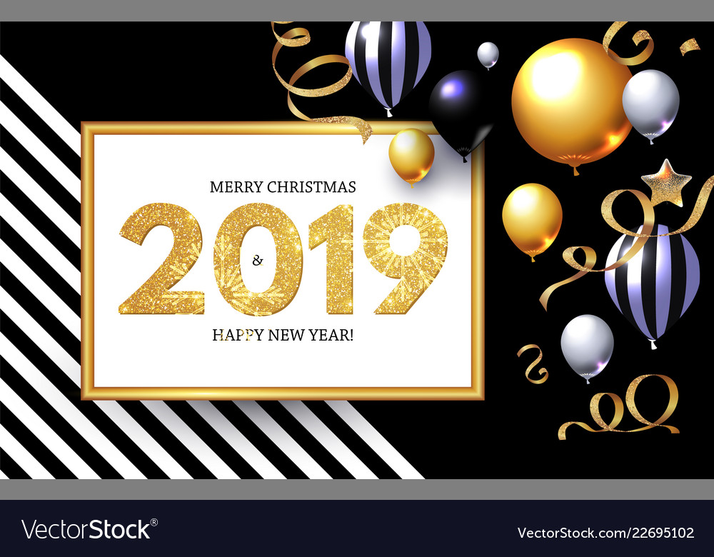 Happy new 2019 year shining greeting card with