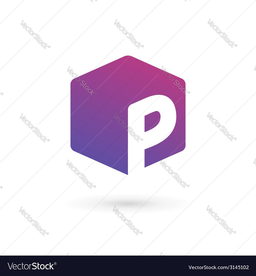 letter p cube logo icon design template elements vector image