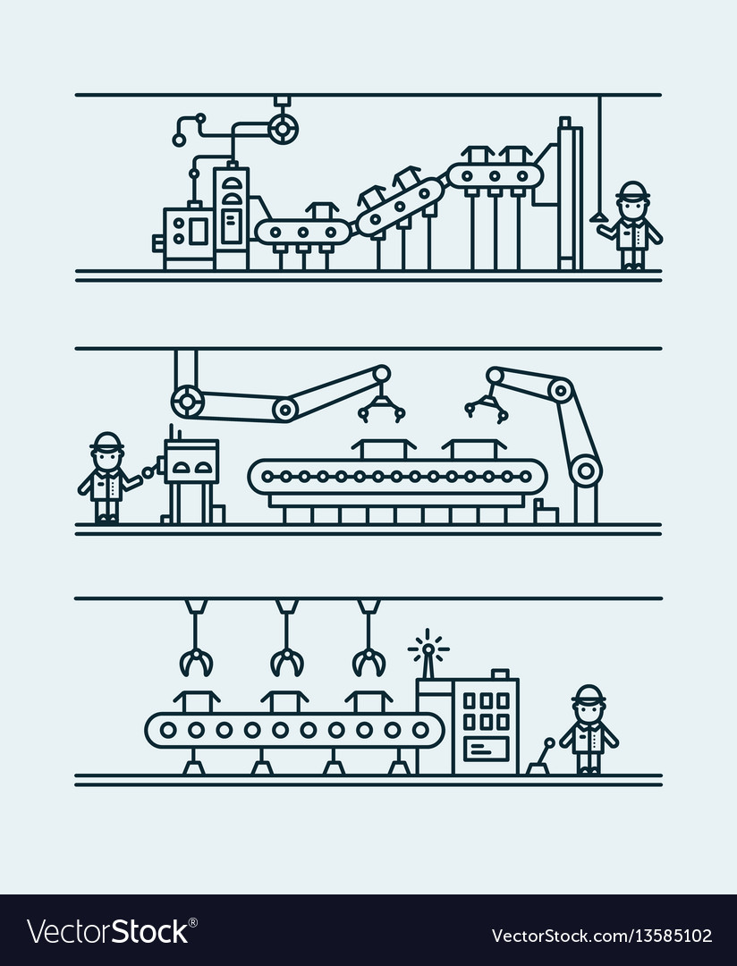 Line art conveyor system in flat style vector image