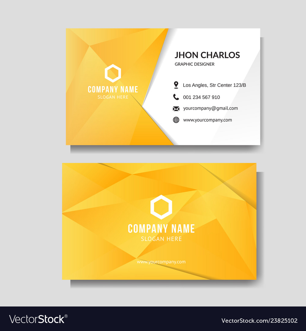 Modern yellow business card with low poly Vector Image