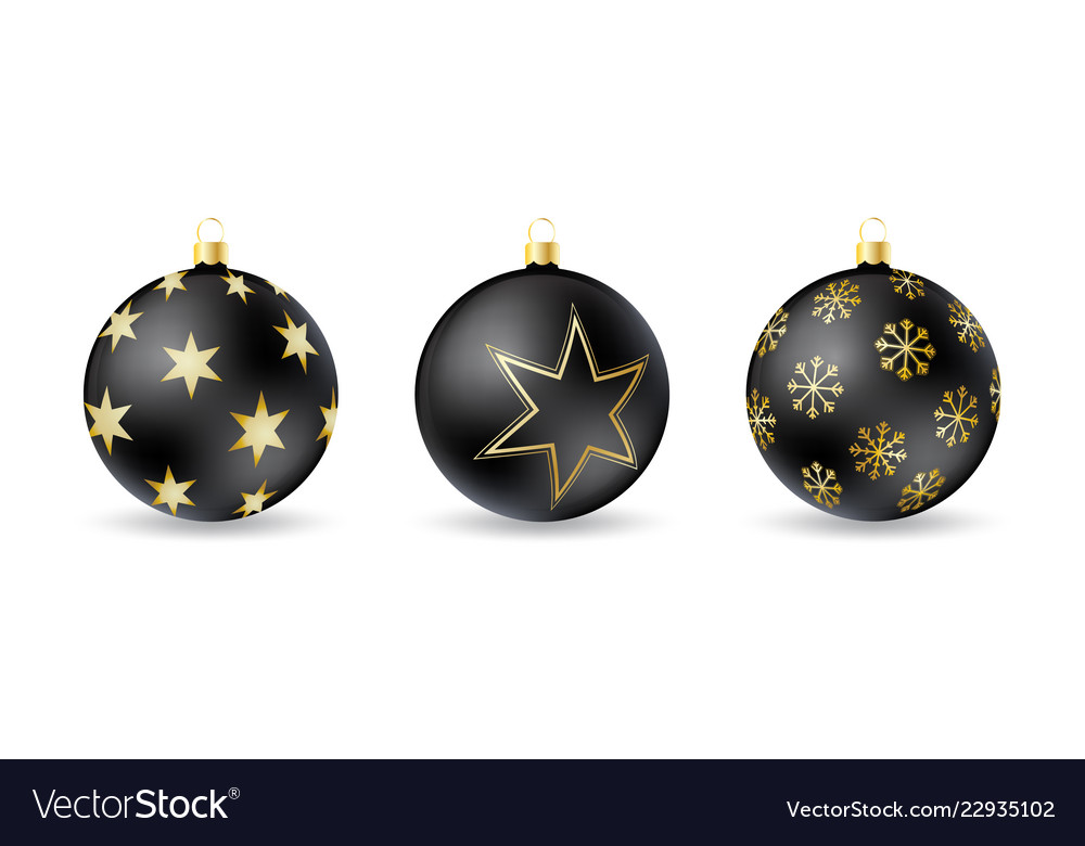 Set of black christmas balls with winter ornament