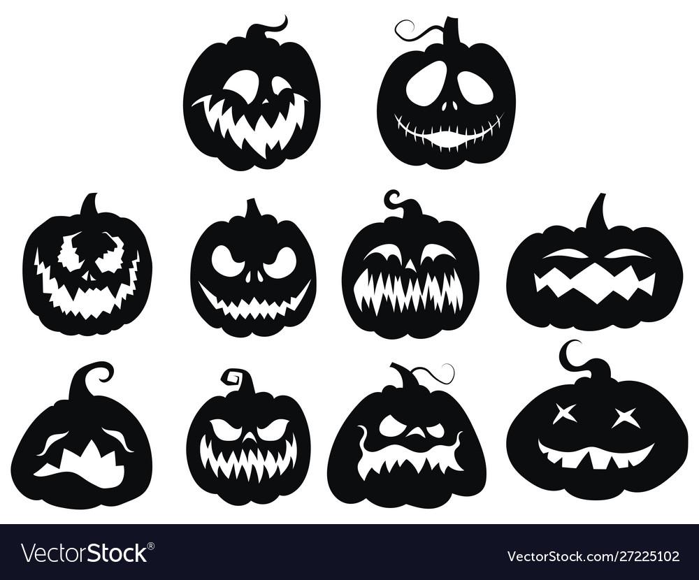 Set pumpkins collection pumpkin faces for